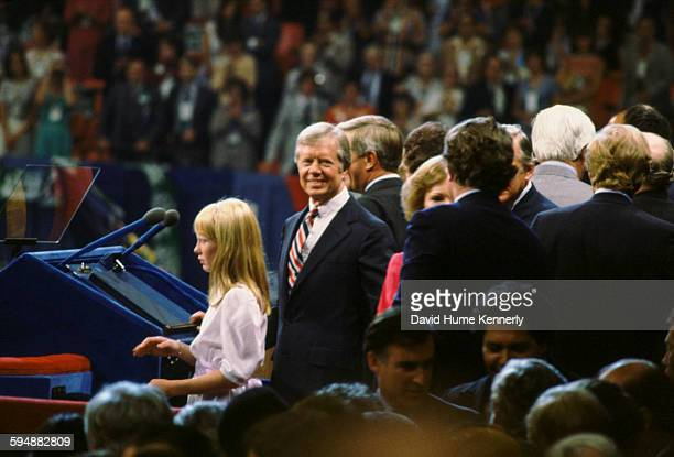 President Jimmy Carter his daughter Amy Carter and other members of the Democratic Party at the Democratic National Convention August 14 in New York...