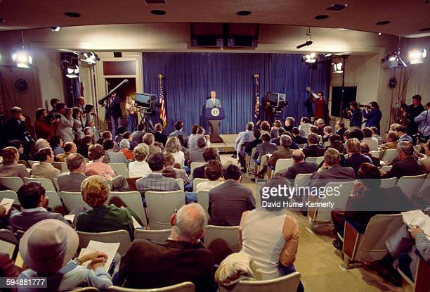 President Jimmy Carter holds a presidential news conference at the Old Executive Office Building April 15 1977 in Washington DC