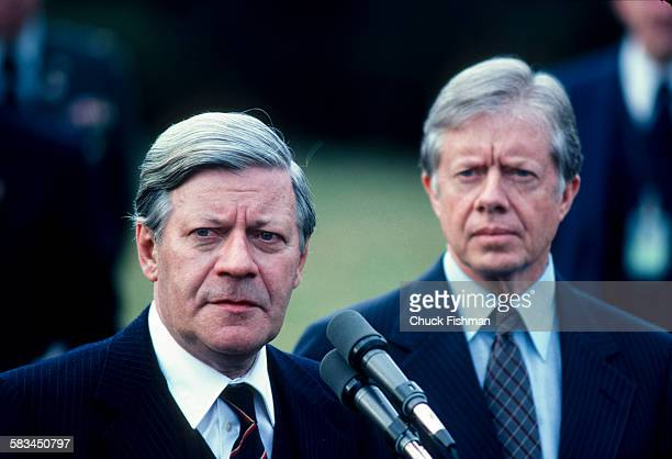 President Jimmy Carter right with German Chancellor Helmut Schmidt at the White House Washington DC March 1980