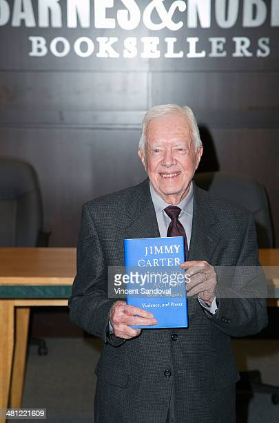 """President Jimmy Carter signs copies of his new book """"A Call To Action"""" at Barnes & Noble bookstore at The Grove on March 28, 2014 in Los Angeles,..."""