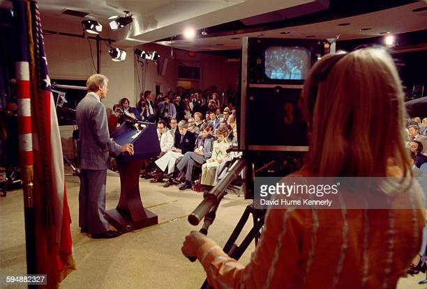 President Jimmy Carter speaks at a presidential news conference at the Old Executive Office Building, April 15, 1977 in Washington, DC.