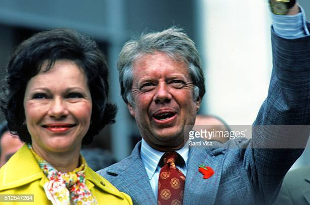 President Jimmy Carter with wife Rosalynn speaking in New York on July 12 1976 in New York New York