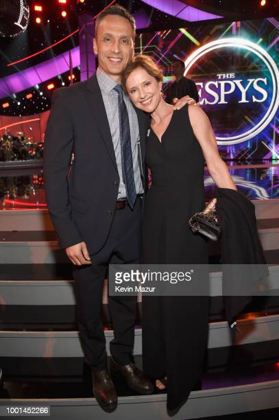 President Jimmy Pitaro and Jean Louisa Kelly attend The 2018 ESPYS at Microsoft Theater on July 18 2018 in Los Angeles California