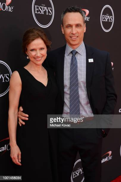 President Jimmy Pitaro and wife Jean Louisa Kelly attend the 2018 ESPY Awards Red Carpet Show Live Celebrates With Moet Chandon at Microsoft Theater...