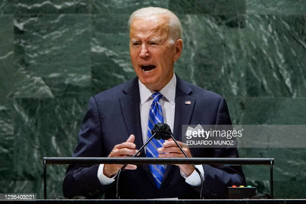 President Joe Biden addresses the 76th Session of the UN General Assembly in New York on September 21, 2021. -