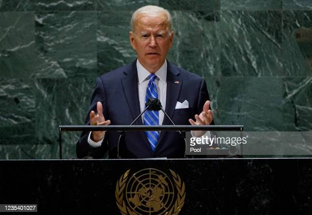 President Joe Biden addresses the 76th Session of the U.N. General Assembly on September 21, 2021 at U.N. Headquarters in New York City. More than...