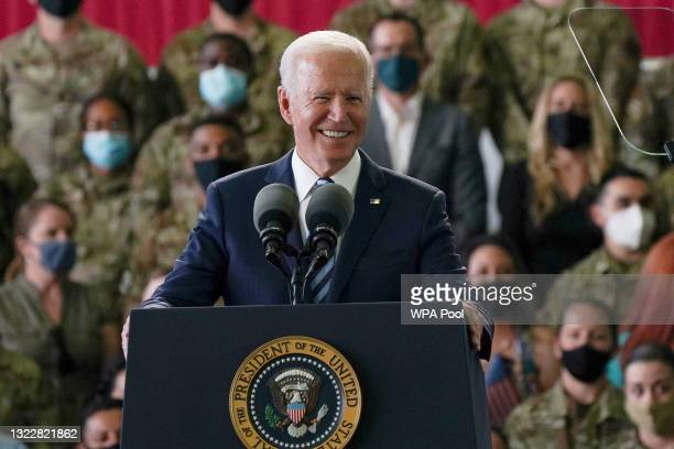 President Joe Biden addresses US Air Force personnel at RAF Mildenhall in Suffolk, ahead of the G7 summit in Cornwall, on June 9, 2021 in Mildenhall,...