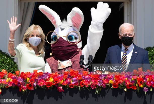 President Joe Biden, alongside First Lady Jill Biden and the Easter Bunny , look on after Biden spoke about the Easter holiday and the traditional...