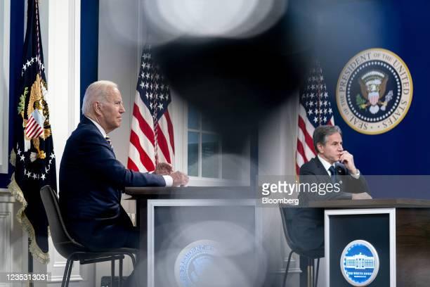 President Joe Biden and Antony Blinken, U.S. Secretary of state, left, during a Major Economies Forum on Energy and Climate in the Eisenhower...