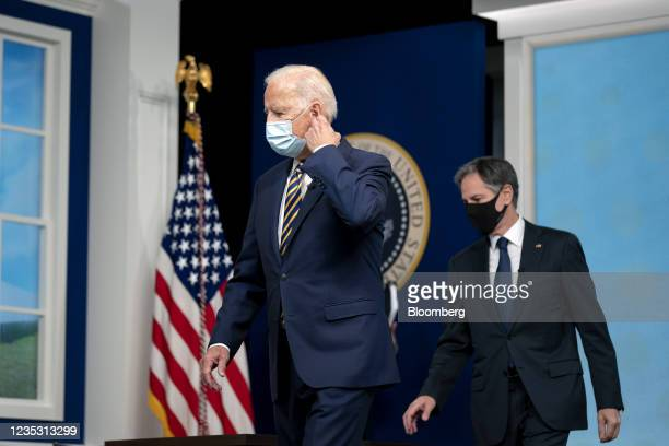President Joe Biden, and Antony Blinken, U.S. Secretary of state, right, arrive to a Major Economies Forum on Energy and Climate in the Eisenhower...