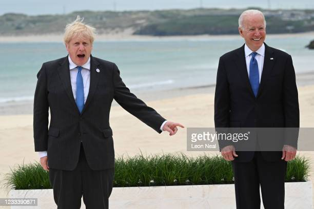 President Joe Biden and British Prime Minister Boris Johnson attend the G7 Summit In Carbis Bay, on June 11, 2021 in Carbis Bay, Cornwall. UK Prime...