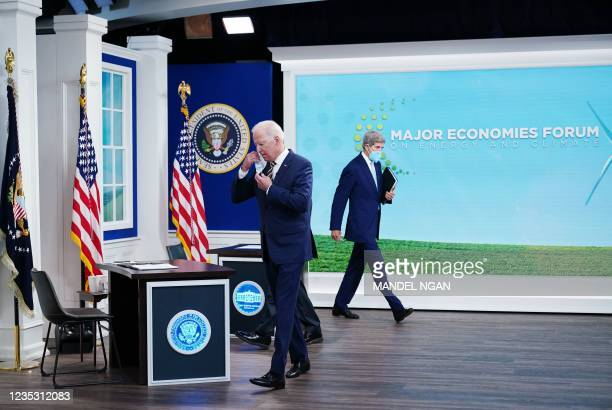 President Joe Biden and Climate Envoy John Kerry arrive for a virtual meeting with the Major Economies Forum on Energy and Climate to galvanize...