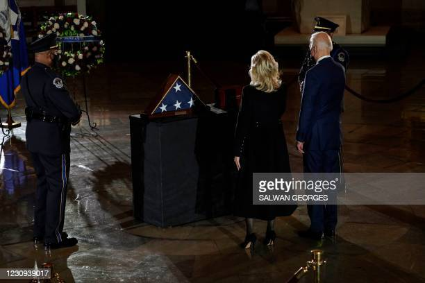 President Joe Biden and First Lady Doctor Jill Biden pay their respects to US Capitol Police Officer Brian Sicknick, as he lies in honor in the...