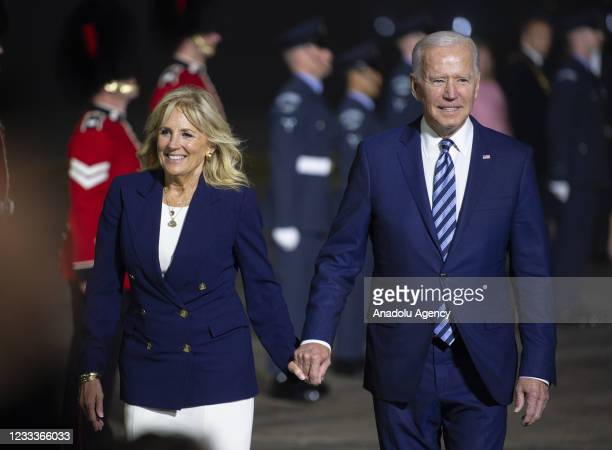 President Joe Biden and First Lady Dr Jill Biden arrive at Cornwall Airport Newquay on Air Force One ahead of the G7 summit in Cornwall, on June 9,...