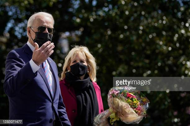 President Joe Biden and First Lady Dr. Jill Biden depart the White House and walk to Marine One on the South Lawn of the White House on April 2, 2021...