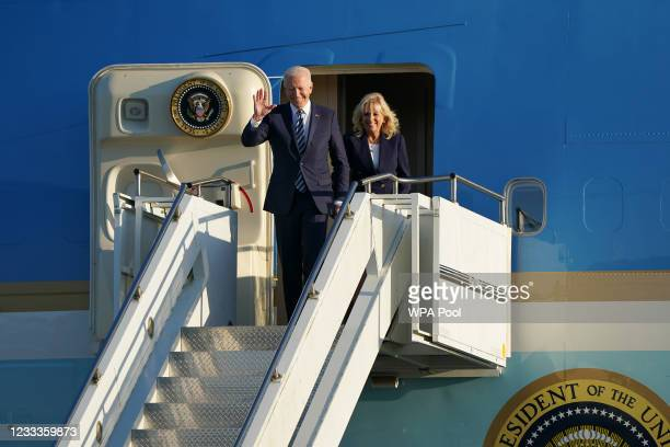 President Joe Biden and First Lady Jill Biden arrive on Air Force One at RAF Mildenhall in Suffolk, ahead of the G7 summit in Cornwall on June 9,...