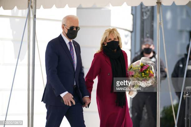 President Joe Biden and First Lady Jill Biden depart from the South Lawn of the White House in Washington, DC, on April 2, 2021. - The Bidens travel...