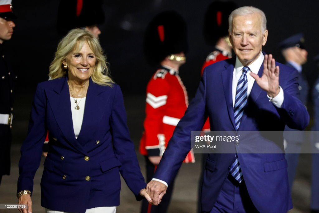 US President Biden And The First Lady Arrive In The UK Ahead Of The G7 Summit : News Photo