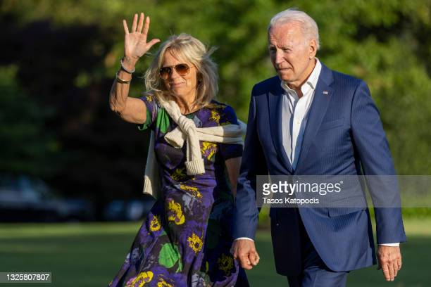 President Joe Biden and first lady Jill Biden walk on the south lawn of White House on June 27, 2021 in Washington, DC. The Bidens and staffers spent...