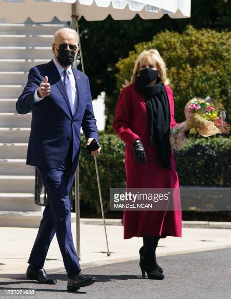 President Joe Biden and First Lady Jill Biden walk to board Marine One as they depart from the South Lawn of the White House in Washington, DC, on...