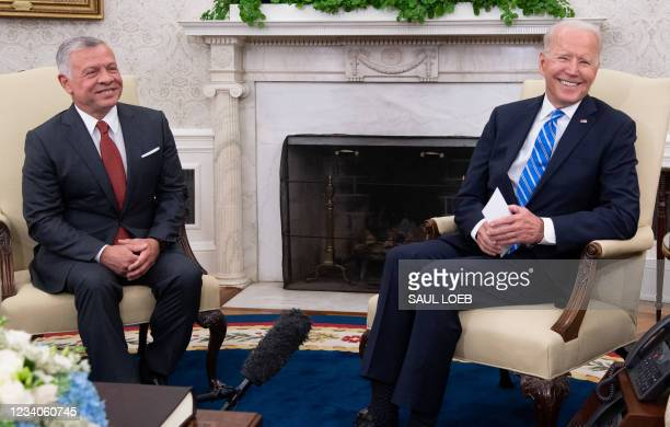 President Joe Biden and Jordan's King Abdullah II hold a meeting in the Oval Office of the White House in Washington, DC, on July 19, 2021.