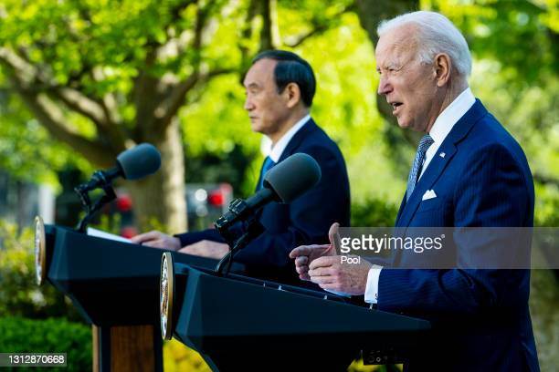 President Joe Biden and Prime Minister Yoshihide Suga of Japan hold a news conference in the Rose Garden of the White House on April 16, 2021 in...