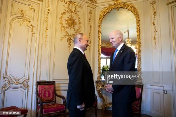 President Joe Biden and Russian President Vladimir Putin meet during the U.S.-Russia summit at Villa La Grange on June 16, 2021 in Geneva,...