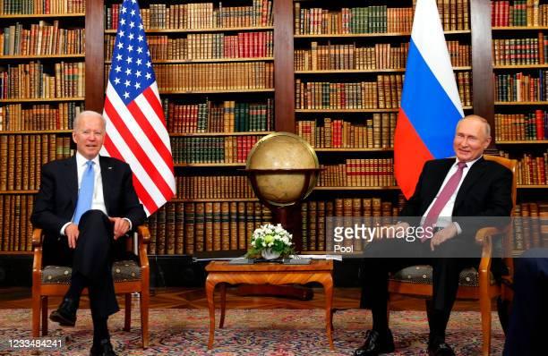 President Joe Biden and Russia's President Vladimir Putin meet at the start of the U.S.-Russia summit at Villa La Grange on June 16, 2021 in Geneva,...