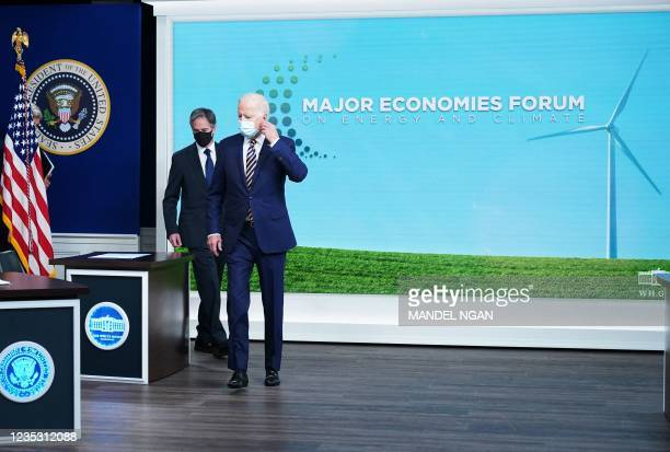 President Joe Biden and Secretary of State Antony Blinken arrive for a virtual meeting with the Major Economies Forum on Energy and Climate to...