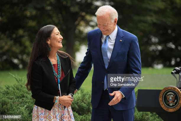 President Joe Biden and Secretary of the Interior Deb Haaland celebrate the announcement of the expansion of areas of three national monuments at the...