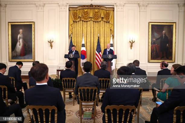 President Joe Biden and South Korean President Moon Jae-in participate in a joint press conference in the East Room of the White House on May 21,...