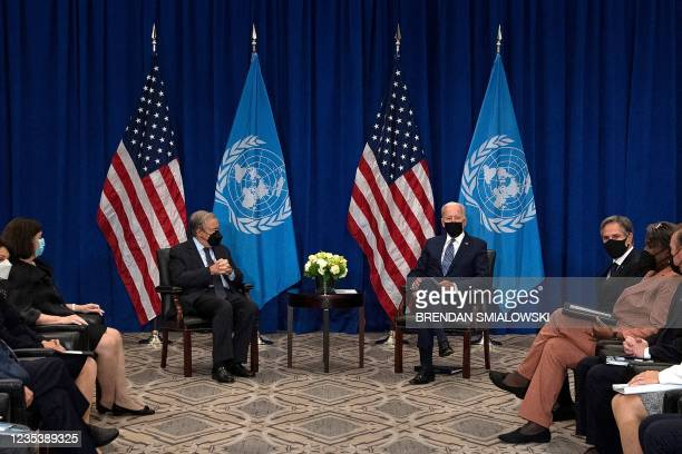 President Joe Biden and United Nations Secretary General Antonio Guterres hold a bilateral meeting on the sidelines of the UN General Assembly 76th...