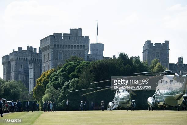 President Joe Biden and US First Lady Jill Biden arrive at Windsor Castle in Windsor, west of London, on June 13, 2021. - US president Biden will...
