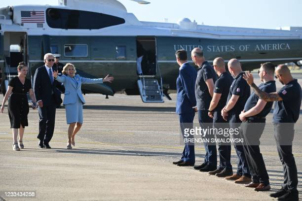 President Joe Biden and US First Lady Jill Biden arrive back at Heathrow Airport, west of London, on June 13 having attended the G7 summit and...