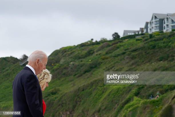 President Joe Biden and US First Lady Jill Biden depart after posing for photos with Britain's Prime Minister Boris Johnson and his wife Carrie...