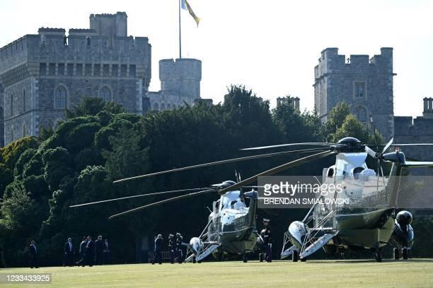 President Joe Biden and US First Lady Jill Biden leave Windsor Castle in Windsor, west of London, on June 13, 2021. - US president Biden visited...