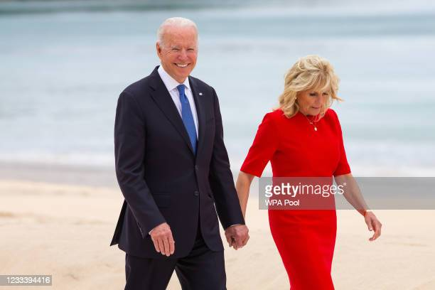 President, Joe Biden and US First Lady Jill Biden smile during the Leaders official welcome and family photo during the G7 Summit In Carbis Bay, on...