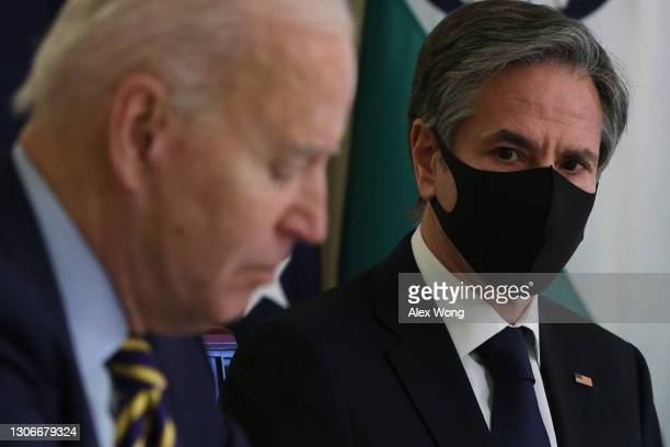 President Joe Biden and U.S. Secretary of State Anthony Blinken participate in a virtual meeting with leaders of Quadrilateral Security Dialogue...