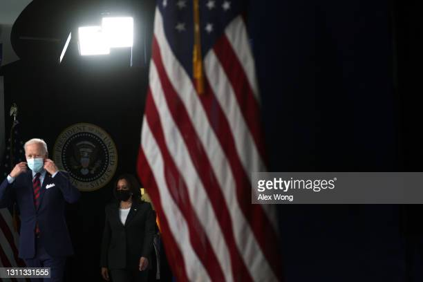 President Joe Biden and Vice President Kamala Harris arrive at an event at the South Court Auditorium at Eisenhower Executive Office Building April...