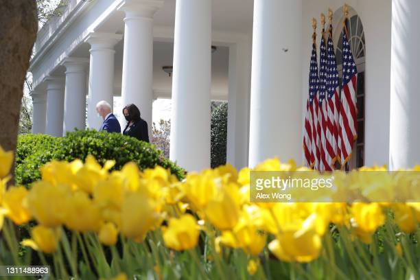 President Joe Biden and Vice President Kamala Harris arrive for an event on gun control in the Rose Garden at the White House April 8, 2021 in...