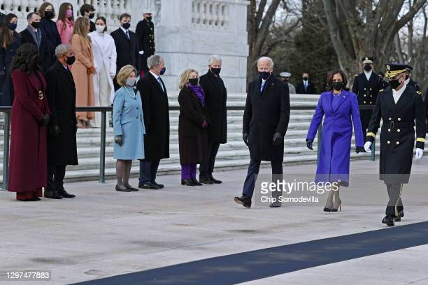 President Joe Biden and Vice President Kamala Harris arrive to a wreath-laying ceremony at Arlington National Cemetery's Tomb of the Unknown Soldier...