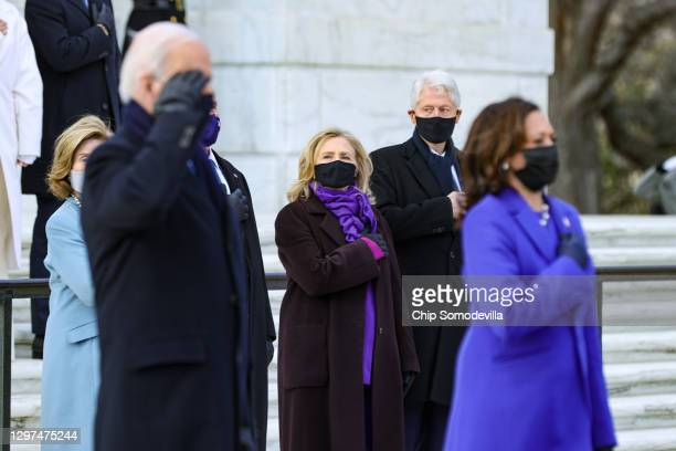 President Joe Biden and Vice President Kamala Harris attend a wreath-laying ceremony at Arlington National Cemetery's Tomb of the Unknown Soldier...
