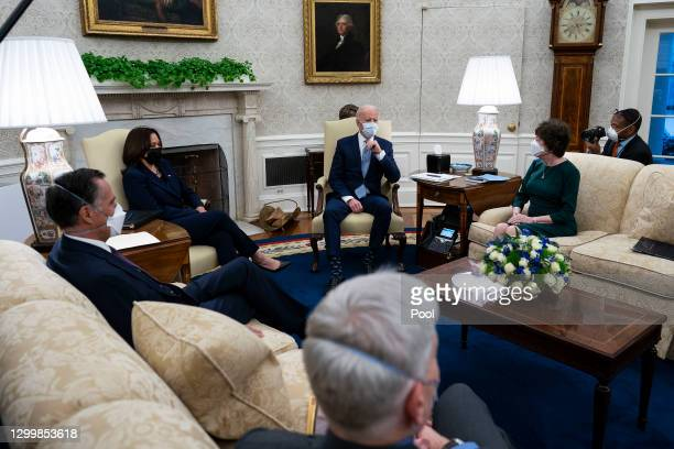 President Joe Biden and Vice President Kamala Harris meet with 10 Republican senators, including Mitt Romney , Bill Cassidy and Susan Collins , in...
