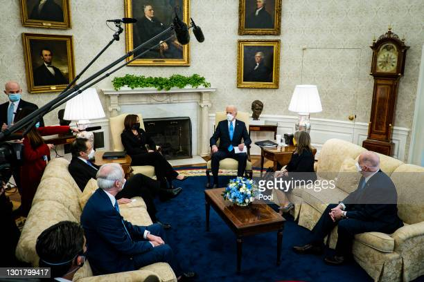 President Joe Biden and Vice President Kamala Harris meet with governors and mayors, including Governor Andrew Cuomo , Governor Asa Hutchinson ,...