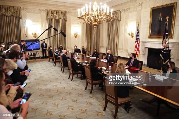 President Joe Biden and Vice President Kamala Harris meet with Health and Human Services Secretary Xavier Becerra and Homeland Security Secretary...