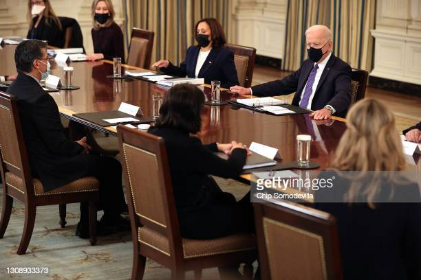President Joe Biden and Vice President Kamala Harris meet with Health and Human Services Secretary Xavier Becerra , cabinet members and immigration...