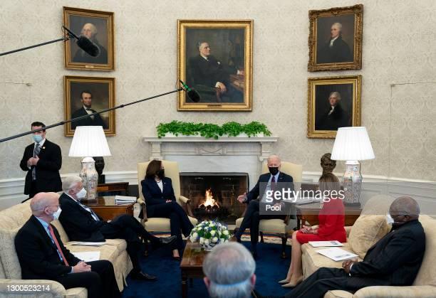 President Joe Biden and Vice President Kamala Harris meet with House Democratic leaders, including Rep. Peter DeFazio , Majority Leader Steny Hoyer ,...