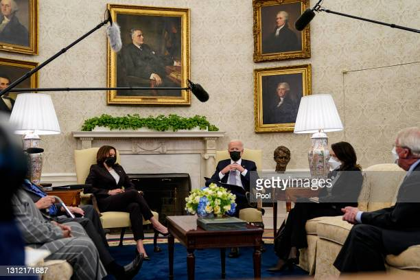 President Joe Biden and Vice President Kamala Harris meet with members of Congress, including Sen. Roger Wicker , Sen. Maria Cantwell and others in...