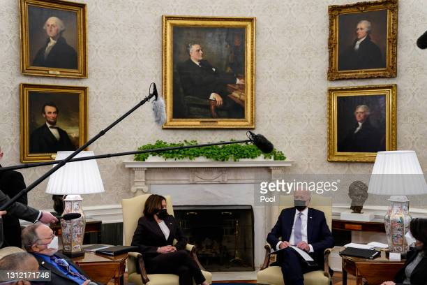 President Joe Biden and Vice President Kamala Harris meet with members of Congress in the Oval Office at the White House on April 12, 2021 in...