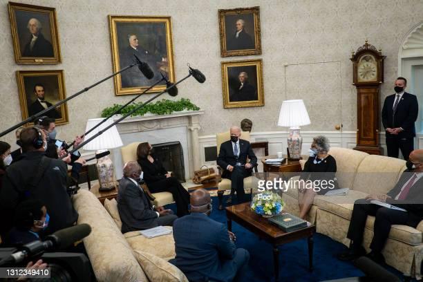 President Joe Biden and Vice President Kamala Harris meet with members of the Congressional Black Caucus, including House Majority Whip James Clyburn...